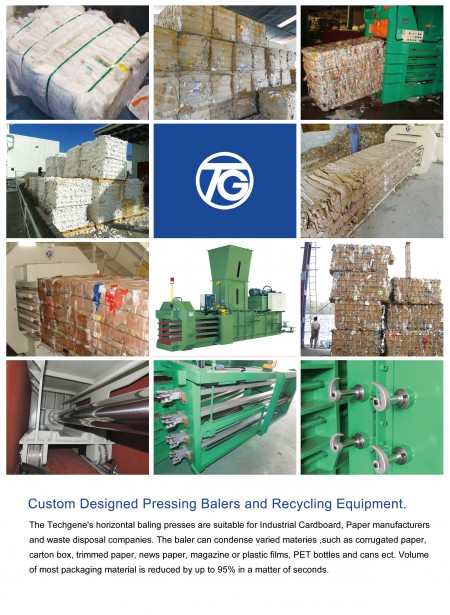The baler can condense varied materies, such as corrugated paper, carton box, trimmed paper, news paper, magazine or plastic films, PET bottles and cans ect. Valume of most packaging material is reduced by up to 95% in a matter of seconds.