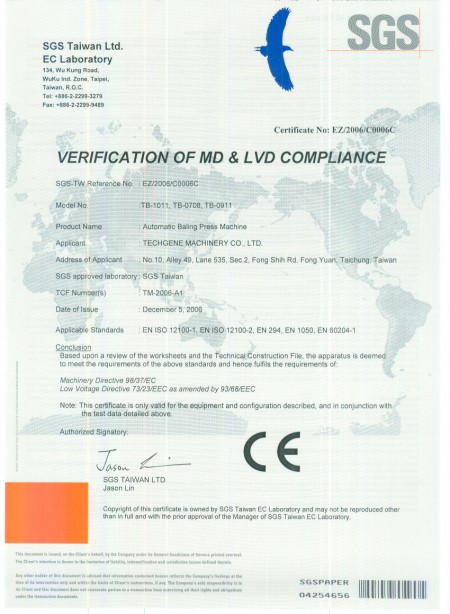 CE Certificats for balers