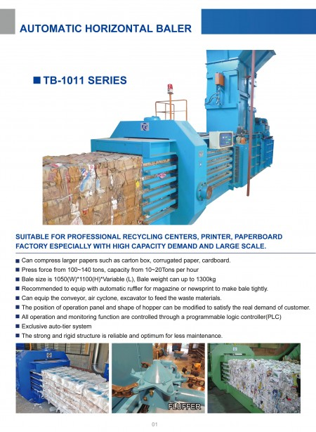 Automatic Horizontal Baling Press TB-1011 Series.