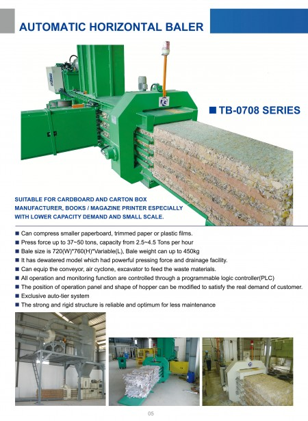 Automatic Horizontal Baling Press TB-0708 Series