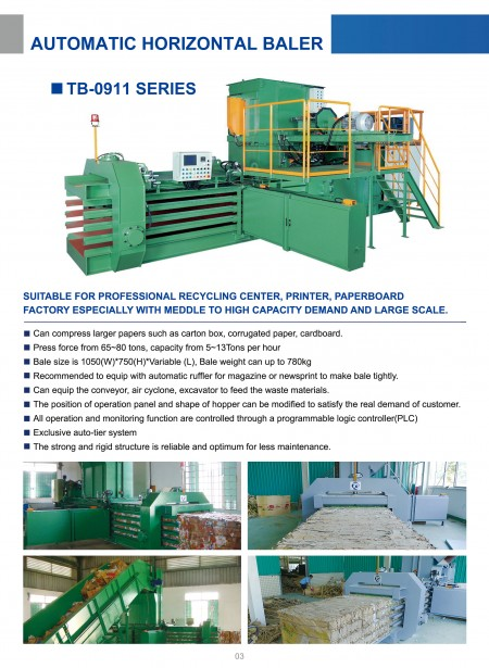 Automatic Horizontal Baling Press TB-0911 Series